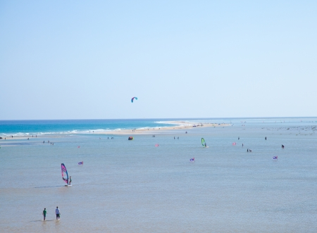 sandbank: Fuerteventura, Playa De Sotavento on Jandia peninsula, salt water lagoon protected from the open ocean by a sandbank Editorial