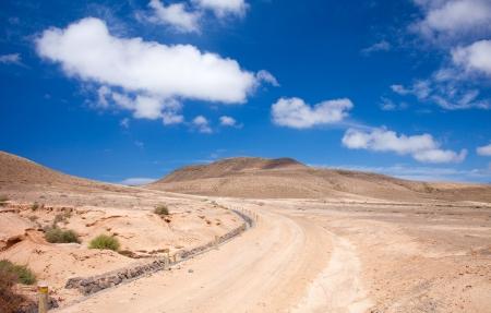 pila: Inland Northern Fuerteventura, around Lajares, path in  Majada de la Pila, protected area for steppe birds Stock Photo