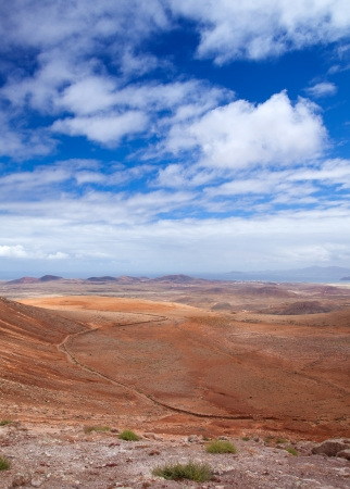 Inland Northern Fuerteventura, view from Montana de Ecanfraga towards Isla de Lobos photo