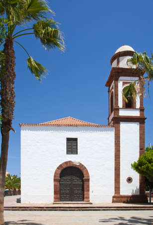 Inland Central Fuerteventura, church in Antigua, sunny day photo