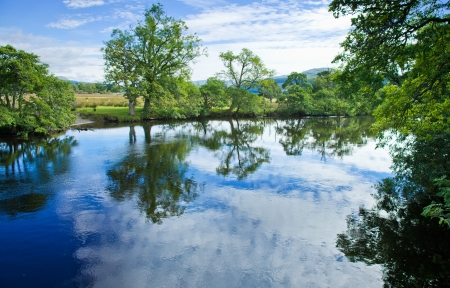 Scotland, summer landscape, river  Lochay close to its confluence with river Dochard photo