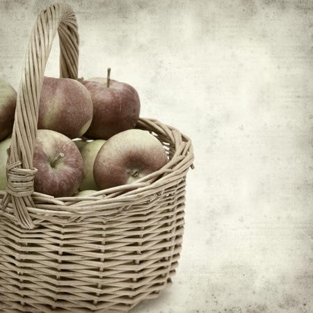 full willow: textured old paper background with wicker basket full of apples