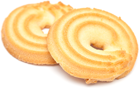 shortbread: shortbread ring biscuit isolated on white Stock Photo