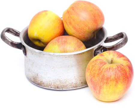 old aliminium pan with large late autumn apples photo