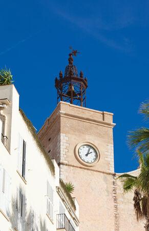 17th century: Sitges, 17th century seaside church of Sant Bartomeu i Santa Tecla, belltower Stock Photo