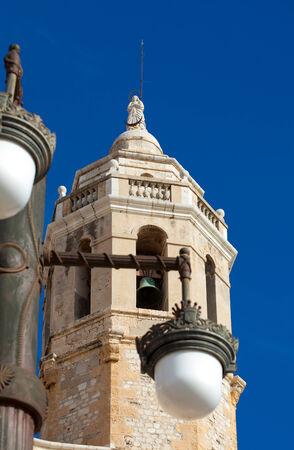 17th: Sitges, 17th century seaside church of Sant Bartomeu i Santa Tecla, main tower