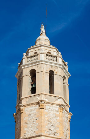 17th: Sitges, 17th century seaside church of Sant Bartomeu i Santa Tecla, main tower