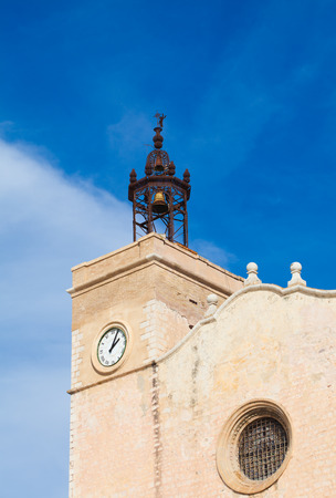 17th: Sitges, 17th century seaside church of Sant Bartomeu i Santa Tecla, belltower Stock Photo