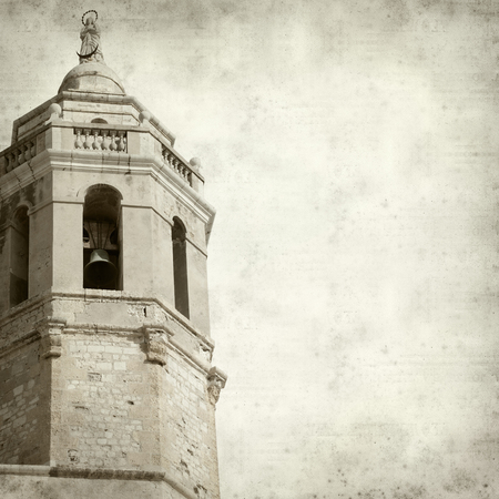 17th century: textured old paper background with old church tower Stock Photo