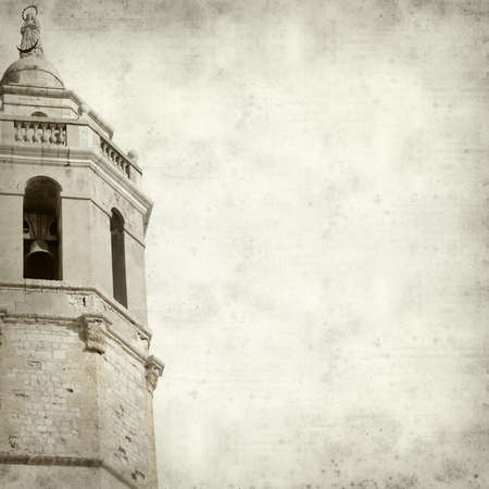 textured old paper background with old church tower photo