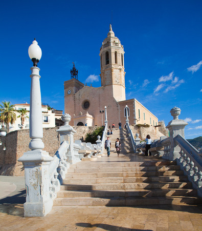 Sitges, 17th century seaside church of Sant Bartomeu i Santa Tecla Stock Photo - 23806496