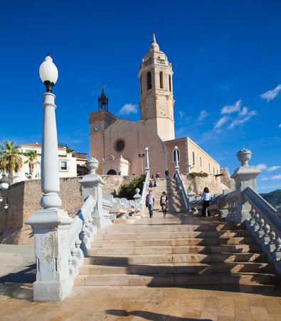 Sitges, 17th century seaside church of Sant Bartomeu i Santa Tecla Stock Photo - 23806496