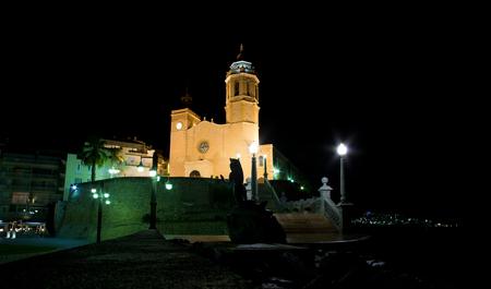 17th century: Sitges, 17th century seaside church of Sant Bartomeu i Santa Tecla Stock Photo