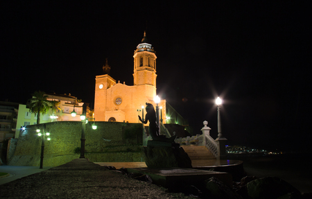 Sitges, 17th century seaside church of Sant Bartomeu i Santa Tecla Stock Photo - 23901918
