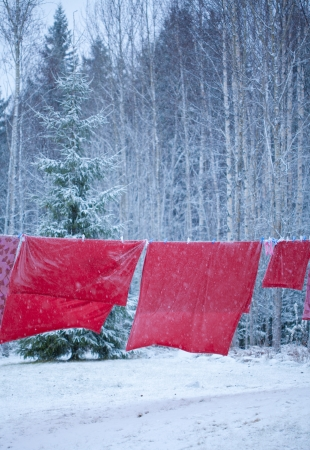 bedlinen: Santa bedlinen drying on clothesline in the snow