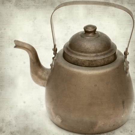 oxidized: textured old paper background with vintage copper kettle