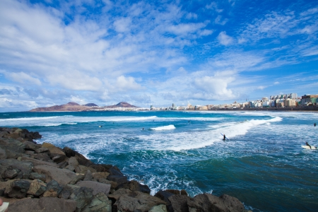 gran canaria: Playa de las Canteras, Las Palmas de Gran Canaria, December 2013 Stock Photo