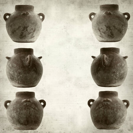 ktchen: textured old paper background with traditional canarian clay pot