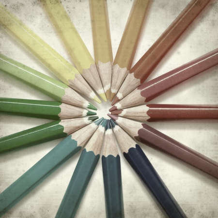 textured old paper background with color pencils Stock Photo - 25297130