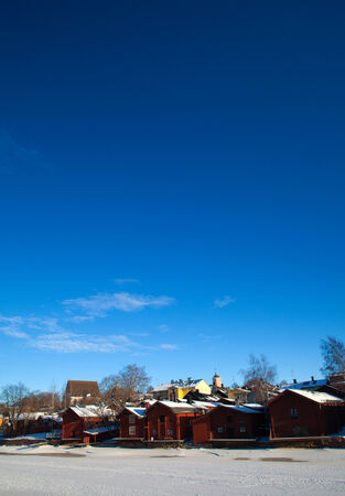 vibrant cottage: Porvoo, Finland - winter view across the river towards old town