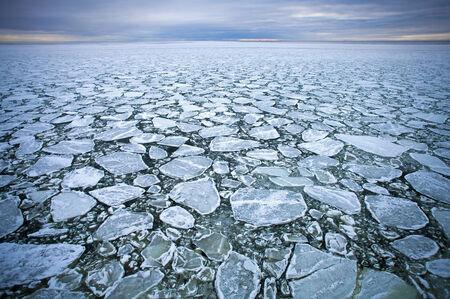 cracks in ice: drift ice  in Baltic  sea Stock Photo