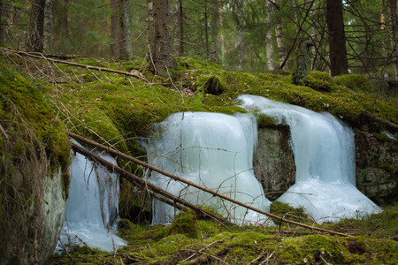 liquid state: frozen waterfalls, early spring forest Stock Photo