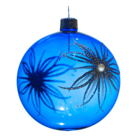chrstmas: blue Chrstmas bauble isolated on white