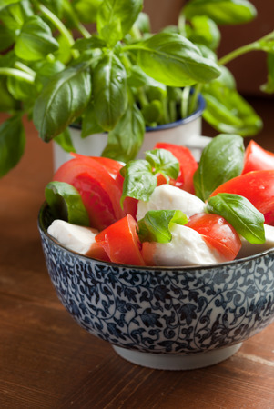 Caprese salad in a blue bowl photo