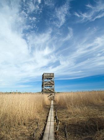 birdwatching: Spring in Southern Finland, reeds around Porvoo fjord, birdwatching observation tower