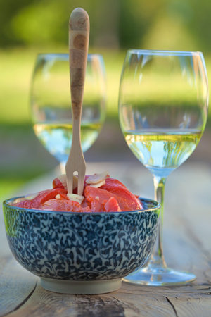 marinated pepper and wine photo