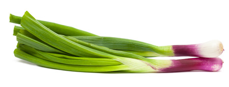 yard stick: purple spring onions isolated on white