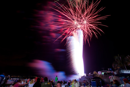 San Juan celebrations in Las Palmas de Gran Canaria, Spain - midnight fireworks at las Canteras town beach