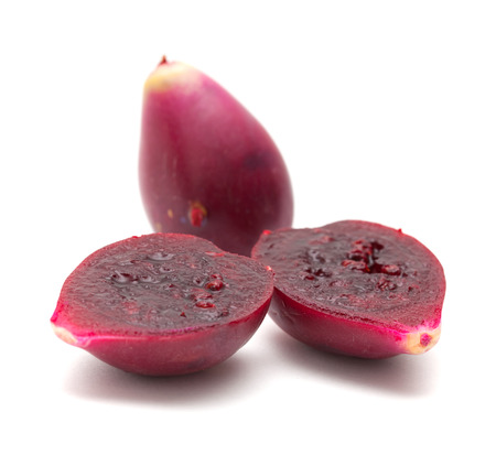 purple prickly pear fruit isolated on white Standard-Bild