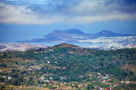 Gran Canaria, view to Las Palmas from the viewing point Mirador de Montana Cabreja