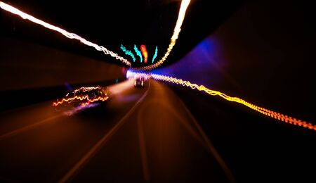 moving cars in a  tunnel abstract photo