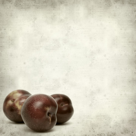 textured old paper background with plums photo