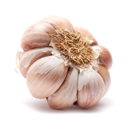 selenium: large bulbs of garlic isolated Stock Photo