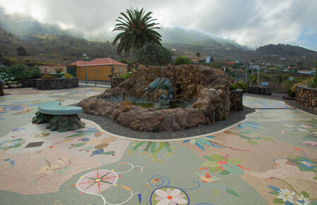 Plaza La Glorieta in Las Manchas village, La Palma, Canary Islands,  tourist attraction,
