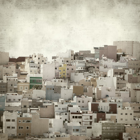 textured old paper background with Las Palmas de Gran Canaria, Ciudad Alta photo