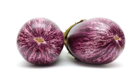 stripy eggplant isolated on white background photo