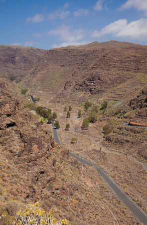 Barranco de Guayadeque Ravine, Gran Canaria, sight of archeological and cultural interest Stock Photo