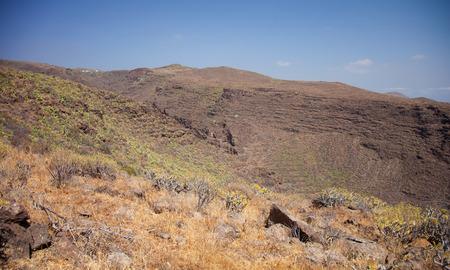 aborigin: Barranco de Guayadeque Ravine, Gran Canaria, sight of archeological and cultural interest Stock Photo