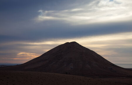 Inland Northern Fuerteventura, Canary Islands, sacred Mountain Tindaya, evening light photo