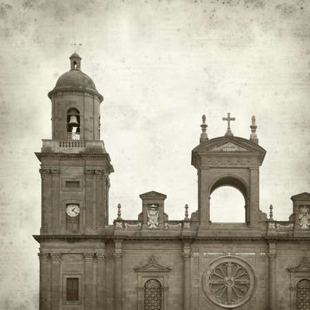 textured old paper background with Catedral de Santa Ana in Las Palmas photo