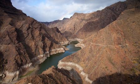 Gran Canaria, Barranco de Aldea, dan Presa de Parrarillo, reservoir semi-dry photo