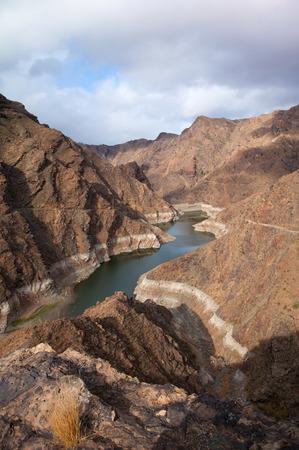 Gran Canaria, Barranco de Aldea, dam Presa de Parrarillo, reservoir semi-dry photo