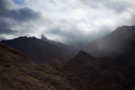 Gran Canaria, ravine  Barranco de Aldea, rain is coming over central mountains, Roque Bentayga visible photo