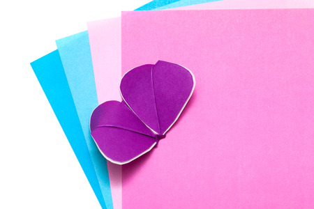 pliable: color paper and kirigami batterfly isolated on white Stock Photo
