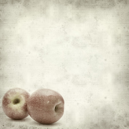 textured old paper background with pink apples photo