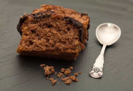 trivet: chocolate sponge cake on a slate trivet